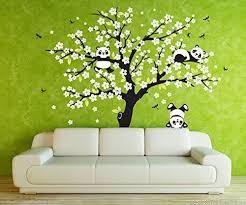 Amazingwall 220x180cm 78 7x70 9 Sakura Tree Panda Wall Sticker Living Room Kids Room Nursery Decor Home Decorations Panda Things