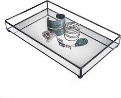mirrored glass tray decorative bathroom