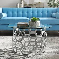 silver metal coffee table amc