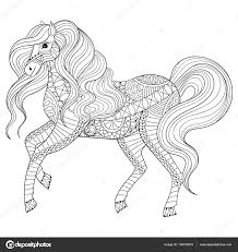 Hand Drawn Zentangle Horse For Adult Coloring Page Art Therapy