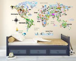 Cultural World Map Decal Pattern Map Wall Decal Clear Vinyl Decal Walls2lifedecals