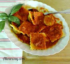 ravioli with meat cheese filling