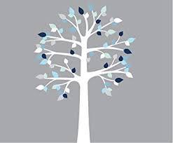 Amazon Com Blue And White Wall Decals White Tree Decals Shelf Tree Shelving Vinyl Tree Nursery Wall Decor Baby