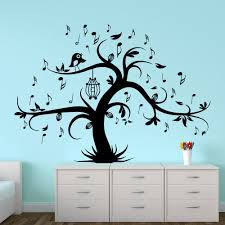 Shop Wall Decal Tree Silhouette With Birdcage Bird Music Notes Wall Decals Home Decor Overstock 11179817