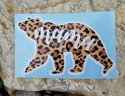 Leopard Print Mama Bear Vinyl Decal Car Window Decal Etsy