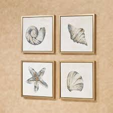 ocean allure 4 pc framed seashell wall