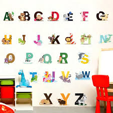 Cartoon Animals Pattern Removable Letter Alphabet Waterproof Pvc Diy Wall Sticker Kids Room Door Decor Wish