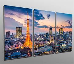 Tokyo Japan Evening Skyline Metal Print Wall Art 3 Panel Split Canvas Quest