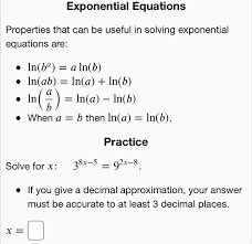 exponential equations properties that