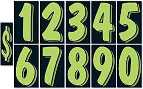 Amazon Com Cads Vinyl Adhesive Advertising Number Window Stickers Full Set 12 Each Of 0 9 And 7 1 2 Fluorescent Chartreuse Green On Black Automotive
