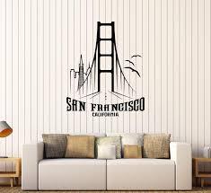 Vinyl Wall Decal San Francisco California Golden Gate Bridge Stickers Wallstickers4you