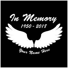 Two Angel Wings Decals In Loving Memory Of Name Date Car Window Vinyl Sticker
