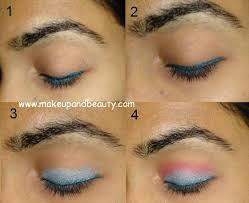 blue pink eye makeup tutorial