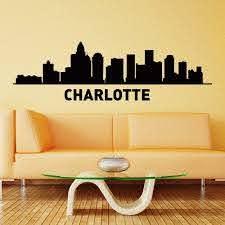 Amazon Com Wall Decal Vinyl Sticker Charlotte Skyline City Silhouette Decor Sb1138 Home Kitchen