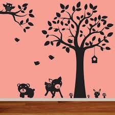 Nursery Wall Decal Black Tree With Branch With Birds Owl Etsy