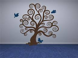 Tree Wall Design Wall Decals Stickers Swirl Tree With Birds Vinyl Wall Design