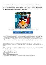 Download Angry Birds Epic Game: How to Download for Android, PC, iOS,  Kindle + Tips PDF