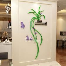 Wall Decals For Bedroom Plant Green Black Acrylic Decorative