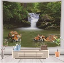 Amazon Com Wshine Tiger Wall Tapestry Bohemian Animal Forest Tapestries Home Decortion Rest Kids Room Decor Blanket Home Kitchen