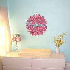 Dahlia Flower And Name Personalized Monogram Wall Decals