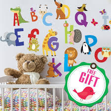 Amazon Com Abc Stickers Alphabet Decals Animal Alphabet Wall Decals Classroom Wall Decals Abc Wall Decals Wall Letters Stickers Wall Stickers For Kids Abc Letters Gift Included Kitchen Dining
