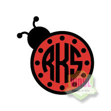 Ladybug Monogram Monogram Sticker Monogram Decal Vinyl Etsy