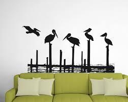 Highland Dunes Beach Pelicans On Posts Vinyl Wall Decal Wayfair