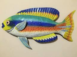 wall hanging multi color metal fish