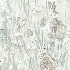 dune hares wallpaper in mist grey