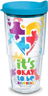 Amazon Com Tervis Autism Puzzle Insulated Tumbler With Wrap Lid 24oz Tritan Clear Tumblers Water Glasses
