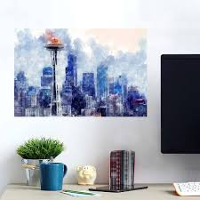 Seattle Painting Of City Wall Decals Peel Stick Re Movable Wall Art Zapwalls