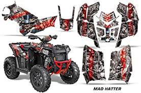 Amazon Com Amr Racing Atv Graphics Kit Sticker Decal Compatible With Polaris Scrambler 850 2013 2016 Mad Hatter Red Silver Automotive