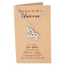 quan jewelry graduation gifts origami unicorn necklace