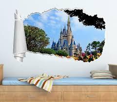 Frozen Elsa Disney Castle 3d Torn Hole Ripped Wall Sticker Decal Decor Art Wt23