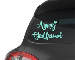 Army Girlfriend With Heart Decals For Cars Car Stickers Monograms Vinyl Decals For Cups Laptop Stickers Note Ipad Decal Army Girlfriend Planner Covers Diy