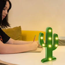 Koicaxy Cactus Light Led Cactus Lamp Up Decor For Kids Bedroom Living Room Wall Party Holiday Green