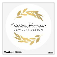 Gold Olive Branch Wreath Logo Wall Decal Zazzle Com