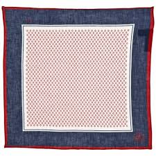 100 linen blue red pocket square
