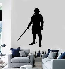Vinyl Wall Decal Warrior Middle Ages Knight In Armor With Sword Sticke Wallstickers4you