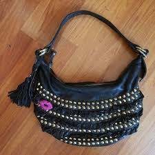black leather gold studded purse