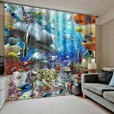 Underwater World Printing Curtains For Kids Room Sheer Curtains Blackout For Bedroom Living Room Colorful 3d Drapes Curtains Aliexpress