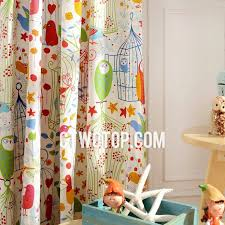 Colorful Artsy Bird Kids Room Darkening Curtains
