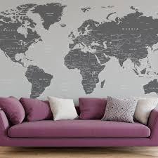 World Map Wall Mural Grey 6133 Map Wall Mural World Map Mural World Map Wall