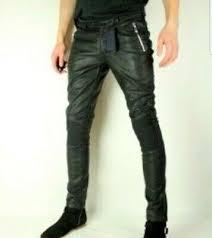 faux leather panel moto skinny jeans sz
