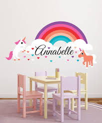 Rainbow Unicorns Personalized Decal Decoracion De Unas Espacio