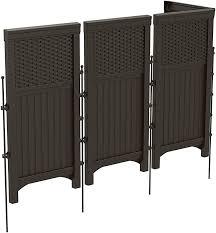 Suncast 4 Freestanding Wicker Resin Reversible Outdoor Panel Screen Enclosure Brown Deck Boxes Garden Outdoor Amazon Com