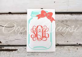 Mason Jar Monogram Bow Car Decal Southern Preppy Monogram Decal Sticker Vinyl Laptop Phone Custom Per Monogram Decal Stickers Car Monogram Decal Monogram Decal