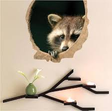 Raccoon Wall Decal Wild Animal Wall Decal Mural Sticker Bedroom Apartm American Wall Designs