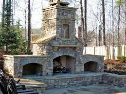 outdoor fireplace stone seats