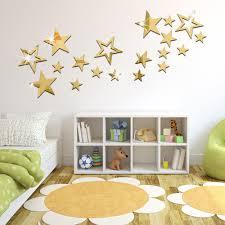 19 Pcs Set 3d Fashion Acrylic Mirror Surface Wall Sticker Stars Mirror Design Removable Wall Art Decoration Golden Silver Color Wall Sticker Stars Stickers Starswall Art Decor Aliexpress
